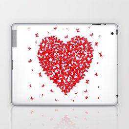 Heart - summer card design, red butterfly on white background Laptop & iPad Skin