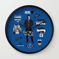 derek hale Wall Clocks featuring Derek Hale Quotes Teen Wolf by Alice Wieckowska