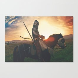 Armored Knight and Horse Canvas Print