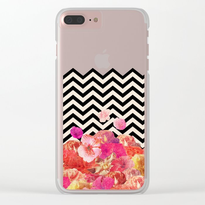 Chevron Flora II Clear iPhone Case
