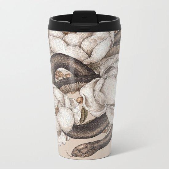 Snake and Peonies Metal Travel Mug