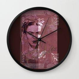 Frida Kahlo - between worlds - red Wall Clock