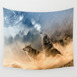 Howling Wolves Moonlight Wolf Wild Animals Moon Wall Tapestry