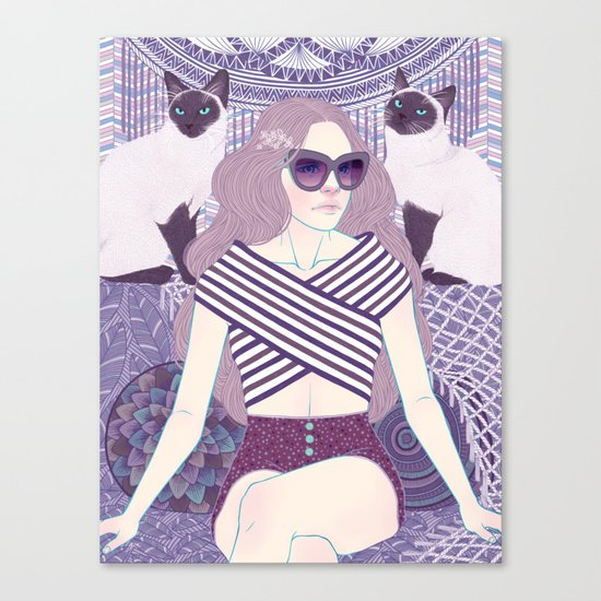 Hey there kitty! LAVENDER Canvas Print