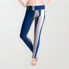 strong blue and pastel gray colored stripes Leggings