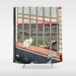 Utagawa Hiroshige Japanese Woodblock Cat Shower Curtain