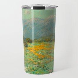 Granville Redmond snow cap spring landscape painting orange flowers green field Travel Mug