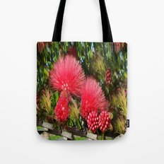 Wild fluffy red flowers Tote Bag