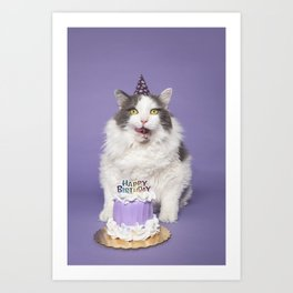Happy Birthday Fat Cat In Party Hat With Cake Art Print
