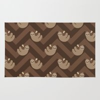sloths Area & Throw Rugs featuring Sloths on chevrons by Petits Pixels
