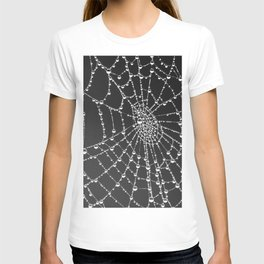 Spider web with dew water drops T-shirt