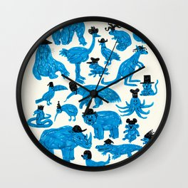Blue Animals Black Hats Wall Clock