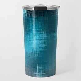 blue and black plaid pattern Travel Mug