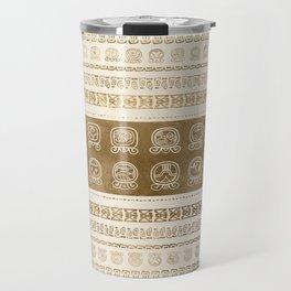Maya Calendar Glyphs gold on pastel beige Travel Mug