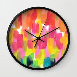 Rainbow Brush Strokes Wall Clock