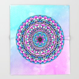 Mandala #2 Wall Tapestry Throw Pillow Duvet Cover Bright Vivid Blue Turquoise Pink Contempora Modern Throw Blanket