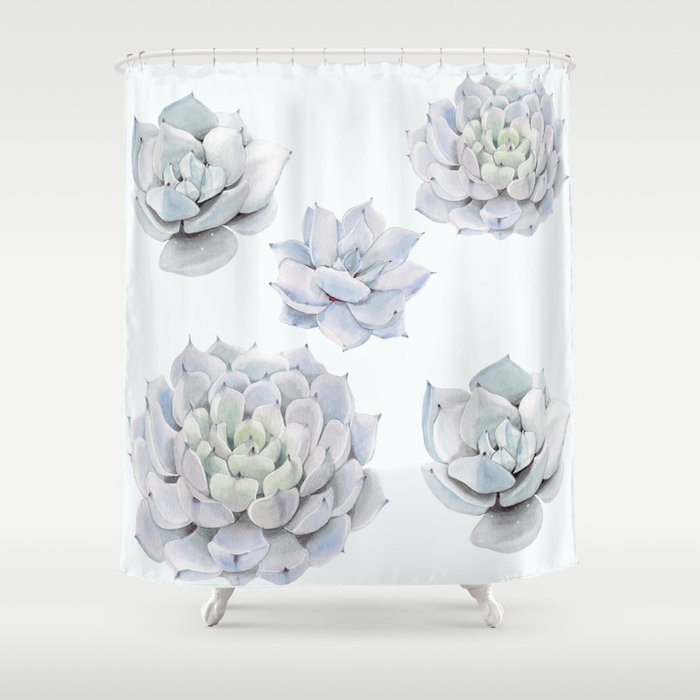 Blue Succulents Shower Curtain