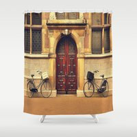 bicycles Shower Curtains featuring Two Bicycles by Indigo Rayz