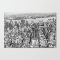 New York Manhattan buildings black and white photography Canvas Print