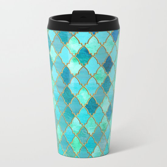 Aqua Teal Mint and Gold Oriental Moroccan Tile pattern Metal Travel Mug