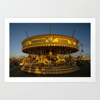 carousel Art Prints featuring Carousel  by Rob Hawkins Photography