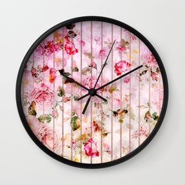 Blush pink coral watercolor floral faux rose gold stripes Wall Clock