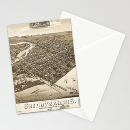 Aerial View of Sheboygan, Wisconsin (1885) Stationery Cards