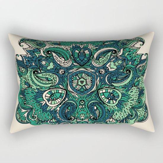 Green Indian Mandala Rectangular Pillow