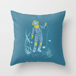 Plunger in old diving suit on the seafloor Throw Pillow