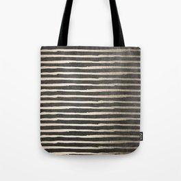 White Gold Sands Thin Stripes on Black Tote Bag