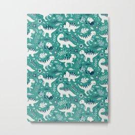 Dino Floral in Teal Green Metal Print