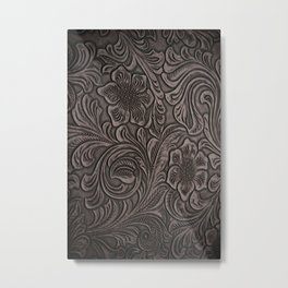 Distressed Smoky Tooled Leather Metal Print