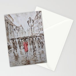 red under the rain Stationery Cards
