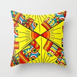 Quadruple city Throw Pillow