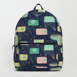 Mid-century Modern Transistor Radios and Atomic Stars / Dark Blue Backpack