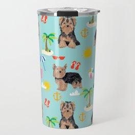 Yorkshire Terrier dog breed pet pattern dog art pet friendly terriers portrait beach summer Travel Mug