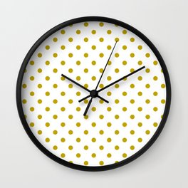 White and Gold Polka Dots Wall Clock