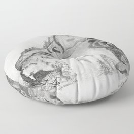 The Fairytale about the Wolf, Bear, and the Lion Floor Pillow