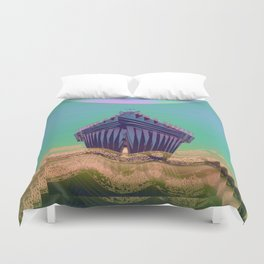 Surfing The Big Wave Searching Mermaids Duvet Cover