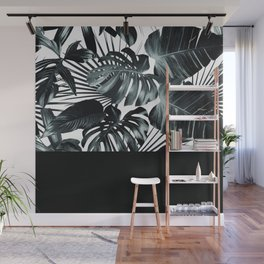 Palm Leaves and Black Wall Mural