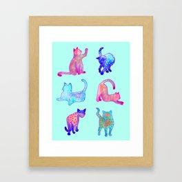 Rainbow Cats on Turquoise Framed Art Print