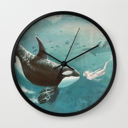 Underwater Love at First Sight Wall Clock