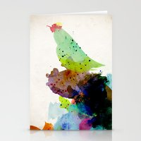 contemporary Stationery Cards featuring Bird standing on a tree by contemporary