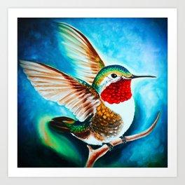 Hummingbird Landing Color Cyan Art Art Print