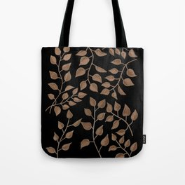 Gold Branches on Black Tote Bag