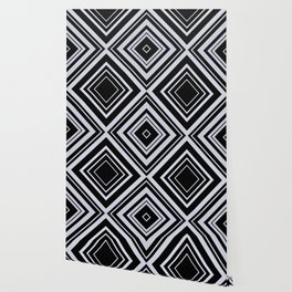 Black and White X Tribal Pattern Shapes Geometric Geometry Contrast I Wallpaper