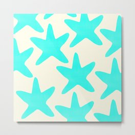 Aqua Starfish Pattern on Pale Yellow Metal Print