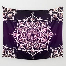 Violet Glowing Spirit Mandala Wall Tapestry