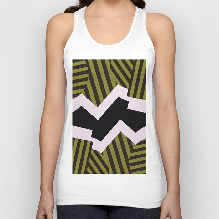 Bold Stripes - Black and white, brown and khaki stripes, abstract geometry Unisex Tank Top
