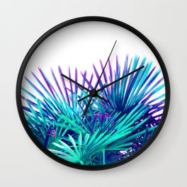 Cool modern teal purple gradient artistic palm tree tropical plants Wall Clock
